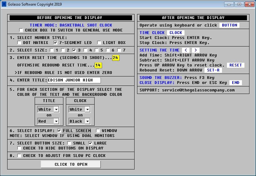 Golasso Basketball Shot Clock Software for Windows®